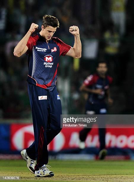 Delhi Daredevils bowler Morne Morkel celebrates the dismissal of Chennai Super Kings captain M S Dhoni during the IPL 5 cricket match between Delhi...