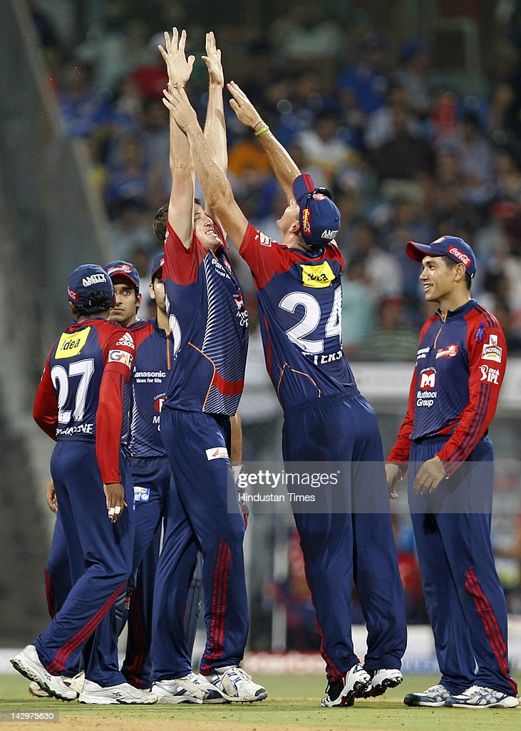 Delhi Daredevils bowler Morne Morkel (L) celebrating with teammates after the dismissal of Mumbai Indians batsman Rudra Pratap Singh during the IPL T20 match between Mumbai Indians vs Delhi Daredevils at Wankhede Stadium on April 16, 2012 in Mumbai, India. Batting first after losing the toss Mumbai Indians posted a target of 93 to win for Delhi Daredevils.