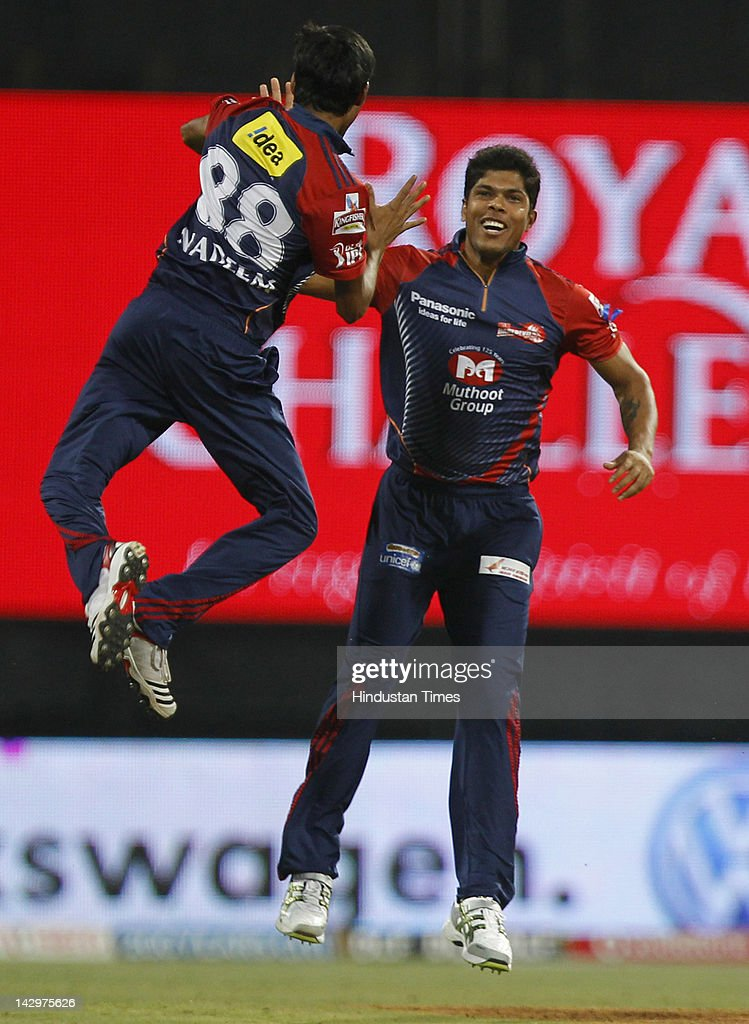 Delhi Daredevils bowler Shahbaz Nadeem (L) celebrating with his teammate <a gi-track='captionPersonalityLinkClicked' href=/galleries/search?phrase=Umesh+Yadav&family=editorial&specificpeople=6850849 ng-click='$event.stopPropagation()'>Umesh Yadav</a> after the dismissal of Mumbai Indians batsman Richard Levi during the IPL T20 match between Mumbai Indians vs Delhi Daredevils at Wankhede Stadium on April 16, 2012 in Mumbai, India. Batting first after losing the toss Mumbai Indians posted a target of 93 to win for Delhi Daredevils.