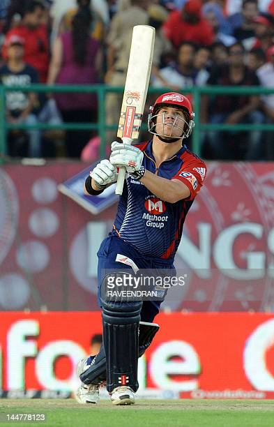 Delhi Daredevils player David Warner plays a shot during the IPL Twenty20 cricket match between Kings XI Punjab and Delhi Daredevils at the Himachal...