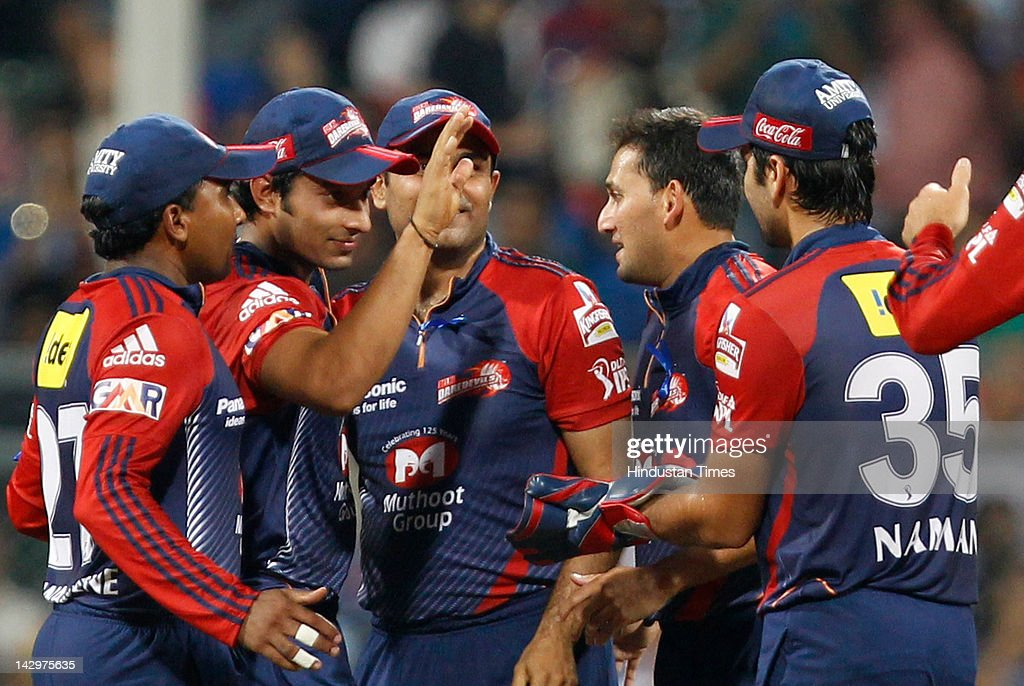 Delhi Daredevils players celebrate after runout of Mumbai Indians batsman Ambati Rayudu during the IPL T20 match between Mumbai Indians vs Delhi Daredevils at Wankhede Stadium on April 16, 2012 in Mumbai, India. Batting first after losing the toss Mumbai Indians posted a target of 93 to win for Delhi Daredevils.
