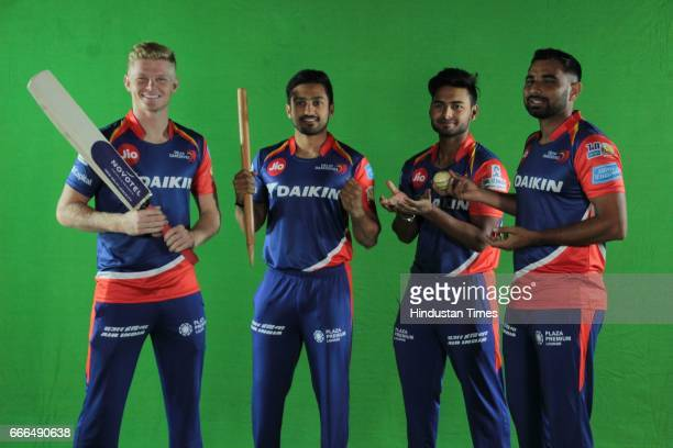 Delhi Daredevils players Sam Billings Karun Nair Rishabh Pant and Mohammed Shami pose during an exclusive interview with HT CITY Hindustan Times on...
