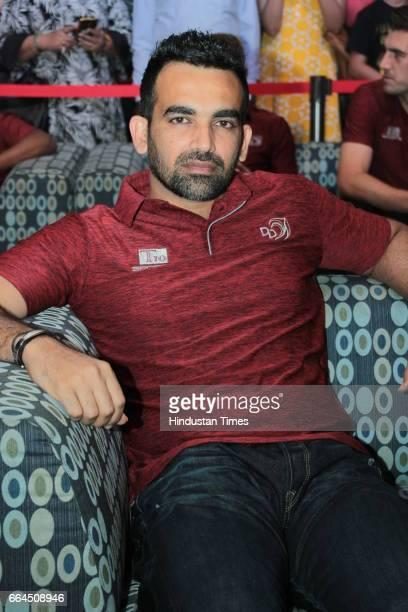 Delhi Daredevils team captain Zaheer Khan enjoying a party on March 31 2017 in New Delhi India