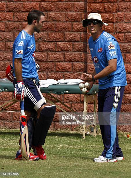 Delhi Daredevils team member Glenn Maxwell and head coach Eric Simons during the net practice ahead of IPL 5 at Ferozshah Kotla ground on March 26...