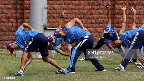 Delhi Daredevils team members Aaron Flinch and Glenn Maxwell during the net practice ahead of IPL 5 at Ferozshah Kotla ground on March 26 2012 in New...