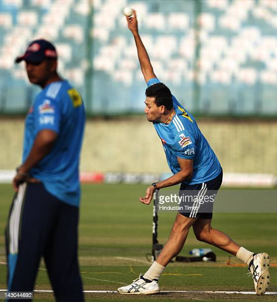 Delhi Daredevils team player Ajit Agarkar during the practice session at Ferozshah Kotla Ground on April 18 2012 in New Delhi India Delhi Daredevils...