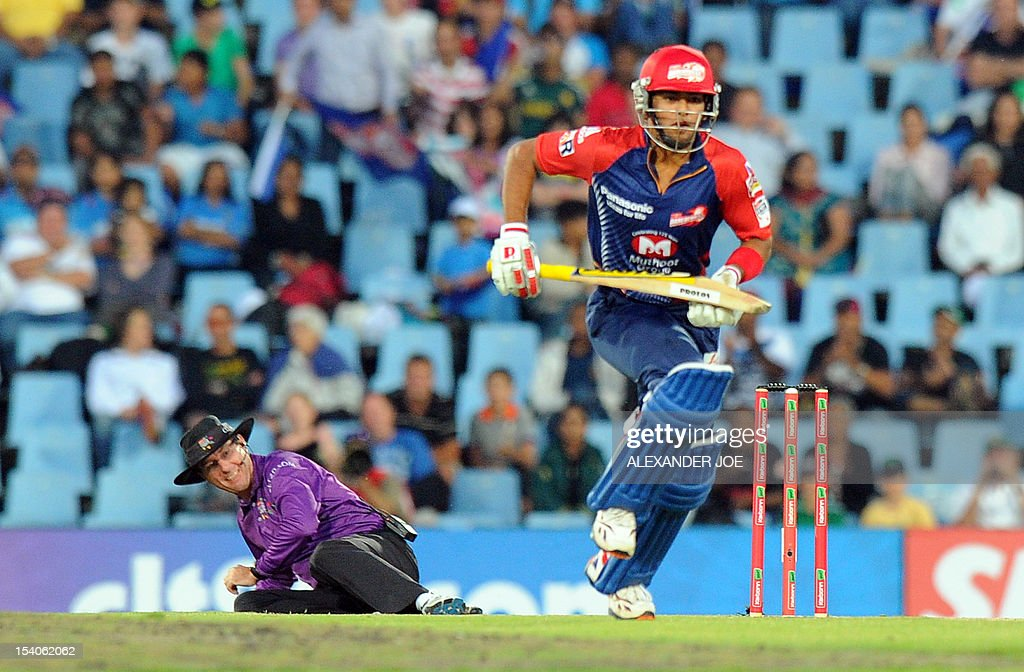 Delhi Daredevils Unmukt Chand plays a shot from unseen Kalkata Knight Riders bowler Pradeep Sangwan during Group A of the Champions League T20 (CLT20) at Super Sports Park in Centurion on October 13, 2012. Kalkata Knight Riders won the toss and elected to bowl.