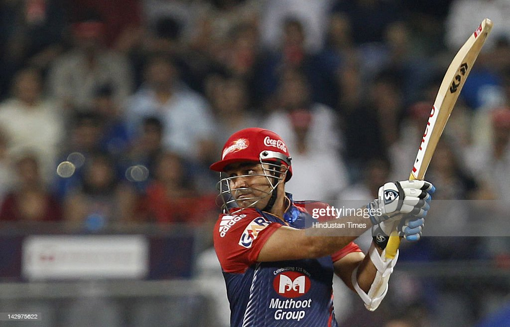 Delhi Daredevils Virender Sehwag plays a shot during the IPL T20 match between Mumbai Indians vs Delhi Daredevils at Wankhede Stadium on April 16, 2012 in Mumbai, India. Batting first after losing the toss Mumbai Indians posted a target of 93 to win for Delhi Daredevils.