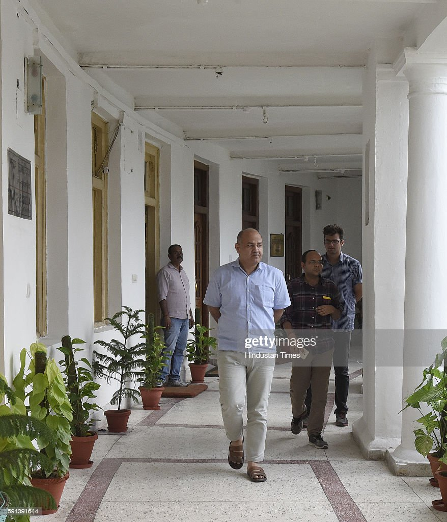Delhi Deputy Chief Minister Manish Sisodia arrives for attending the Delhi Assembly Monsoon Session on August 23 2016 in New Delhi India