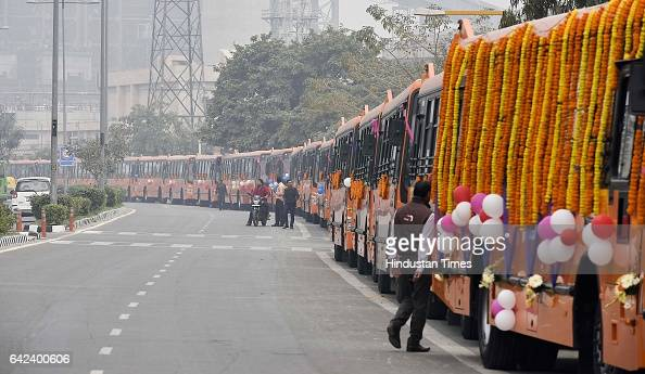 Delhi Deputy Chief Minister Manish Sisodia flags off 100 new cluster buses at Delhi Secretariat on February 17 2017 in New Delhi India