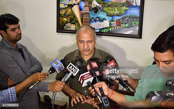 Delhi Deputy CM Manish Sisodia addressing the media after the police arrested AAP legislator Dinesh Mohaniya for allegedly misbehaving with a woman...