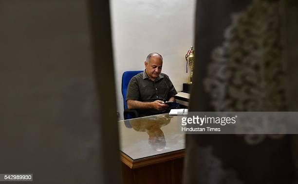 Delhi Deputy CM Manish Sisodia at his residence after addressing the media on the arrest of AAP legislator Dinesh Mohaniya for allegedly misbehaving...