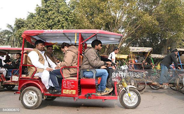 Delhi Environment Minister Imran Hussain travelling in an E rickshaw from his office at Ballimaran to Delhi Secretariat as Oddeven vehicle rationing...