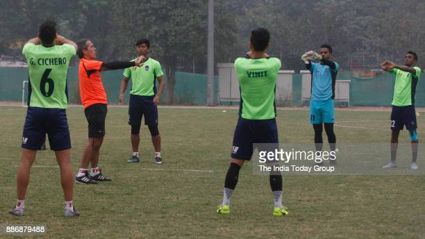 Delhi football team Delhi Dynamos during practices at Jawaharlal Nehru stadium in New Delhi