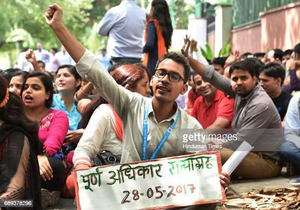 Delhi Guest teachers sitting on 'Poorn Adikar Satyagrah' dharna in front of Delhi Deputy Chief Minister and Education Minister Manish Sisodia's...