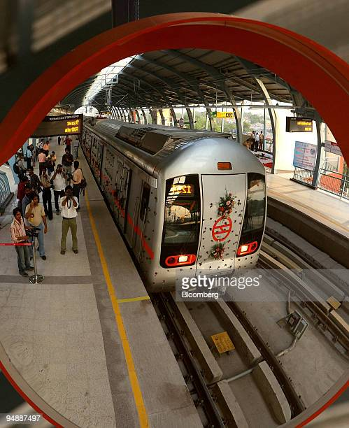 Delhi Metro Rail Corp train is reflected in a mirror at the Dilshad Garden Metro Station in New Delhi India on Wednesday June 4 2008 Elattuvalapil...