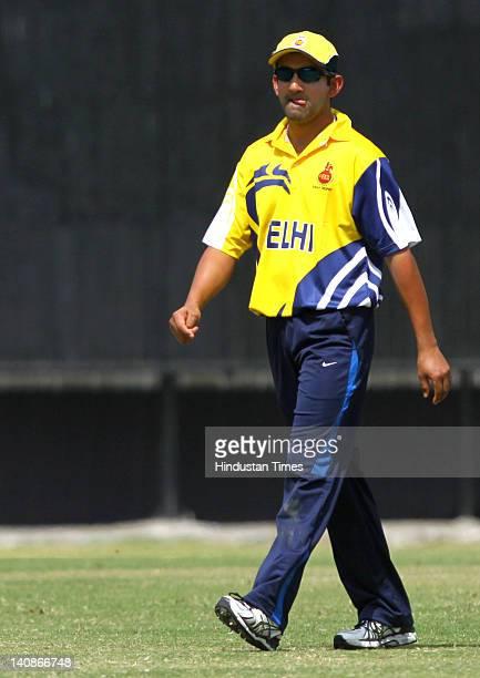 Delhi player Gautam Gambhir during the Vijay Hazare Trophy quarter final match between Delhi and Railways at Ferozshah Kotla on March 7 2012 in New...