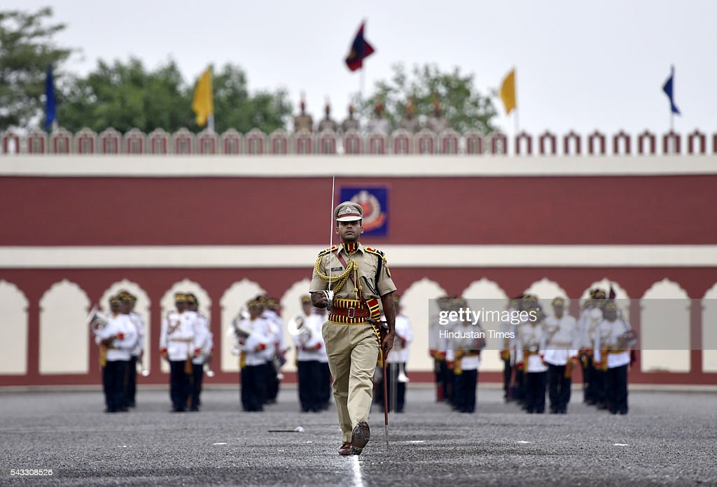 Delhi Police band march during a Passing out Parade of 14th batch of Delhi, Andaman and Nicobar Islands Police Service at Jaroda Kalan, on June 27, 2016 in New Delhi, India.