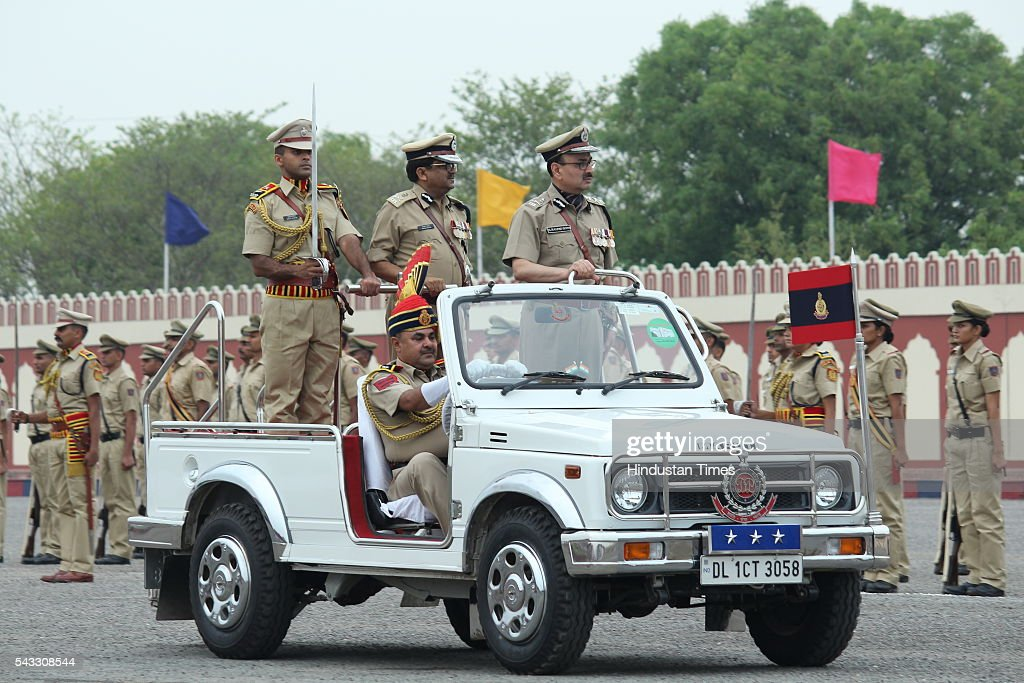 Delhi police Commissioner Alok Kumar Verma inspecting guard of honour Passing out Parade of 14th batch of Delhi, Andaman and Nicobar Islands Police Service at Jaroda Kalan, on June 27, 2016 in New Delhi, India.