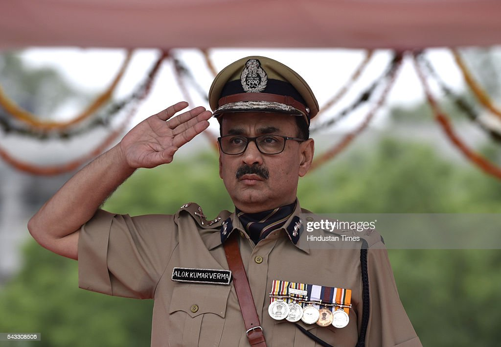 Delhi police Commissioner Alok Kumar Verma salutes at Passing out Parade of 14th batch of Delhi, Andaman and Nicobar Islands Police Service at Jaroda Kalan, on June 27, 2016 in New Delhi, India.