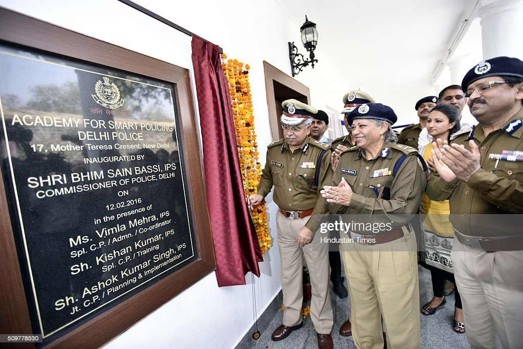 Delhi Police Commissioner BS Bassi with Vimla Mehra Special Commissioner Police inaugurating Academy for Smart Policing on February 12, 2016 in New Delhi, India.