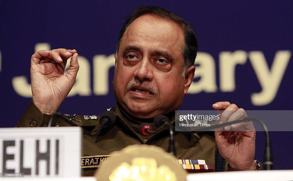 Delhi Police commissioner Neeraj Kumar address the Media person during the Delhi Police Annual Press conference on January 18, 2013 in New Delhi, India.