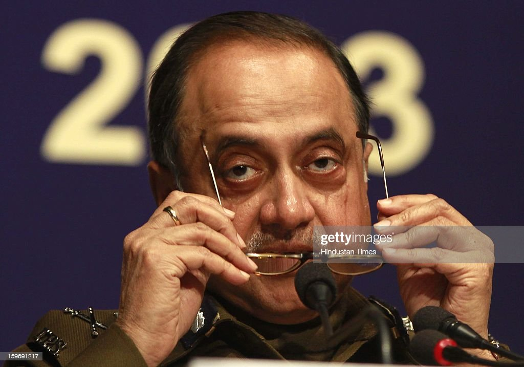Delhi Police commissioner Neeraj Kumar address the Media person during the Delhi Police Annual Press conference on January 18, 2013 in New Delhi, India.