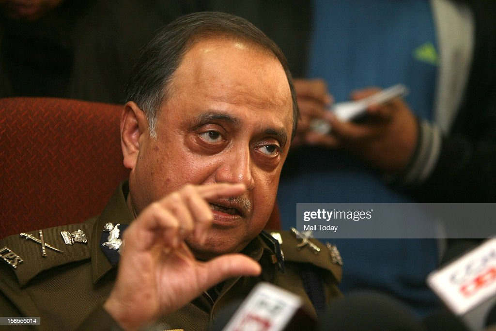 Delhi Police Commissioner Neeraj Kumar addresses a press conference regarding the recent rape incident involving a 23-year-old girl, in New Delhi on Tuesday.