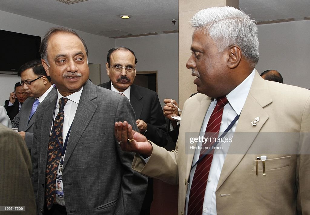 'NEW DELHI, INDIA- SEPTEMBER 6: Delhi Police Commissioner Neeraj Kumar with Ranjit Sinha DG of ITBP at the DGPs/IGPs Conference at Vigyan Bhawan on September 6, 2012 in New Delhi, India. (Photo by Arvind Yadav/Hindustan Times via Getty Images) '