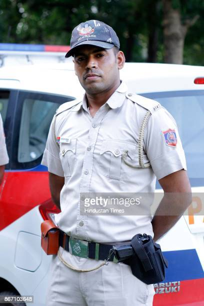 Delhi Police Constable Parveen Kumar one of the drivers of Parakram Vans at Police Control room Model Town on October 24 in New Delhi India The...
