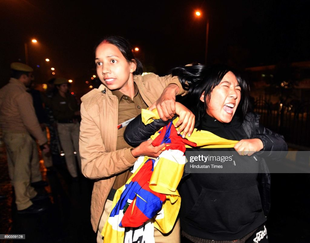 Tibetan Protesting Against China's Occupation In Tibet During Chinese Foreign Minister New Delhi Visit