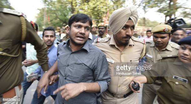 Delhi Police escorts to Kanhaiya Kumar during the AISA JNUTA and Delhi University Students' protest march against ABVP wing after 22nd February issue...