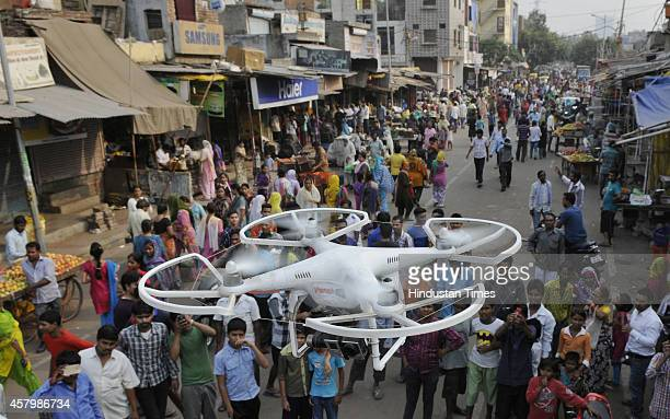 Delhi Police has deployed cameraequipped drones for surveillance in riot affected areas of Trilokpuri on October 28 2014 in New Delhi India The...