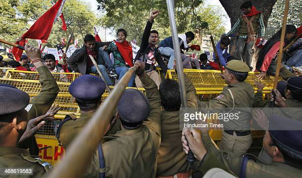 Delhi Police lathi charge to disperse the members of All India Students Federation who protesting against the privatization of education and making...