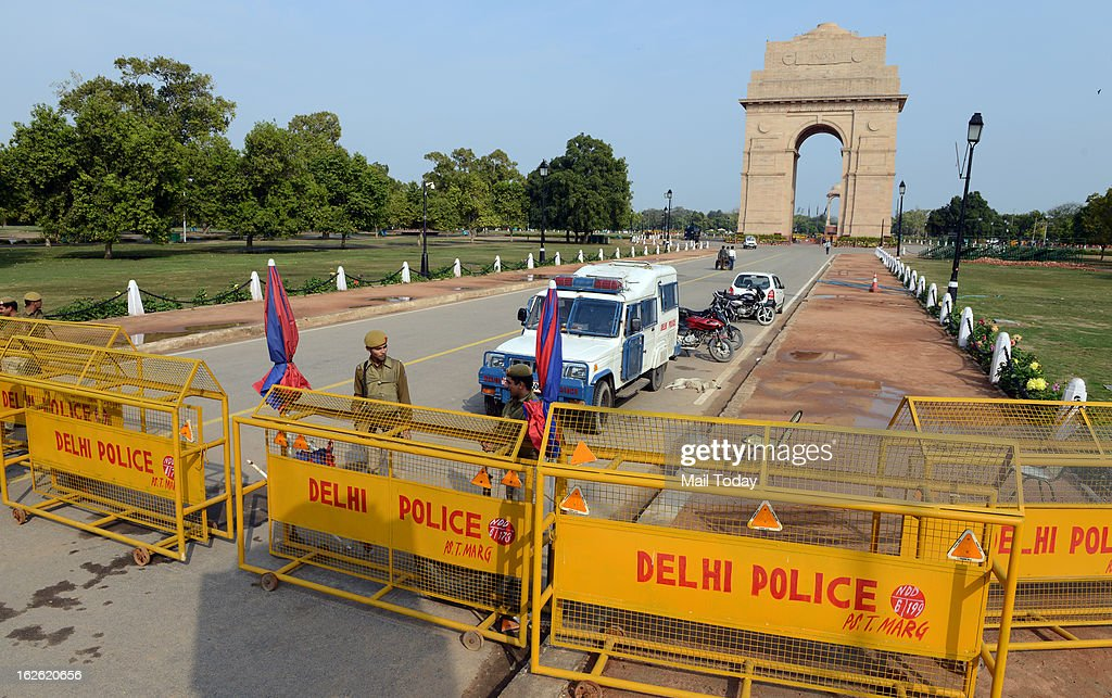 Delhi Police personnel stand guard near India Gate during high alert in New Delhi on Saturday.
