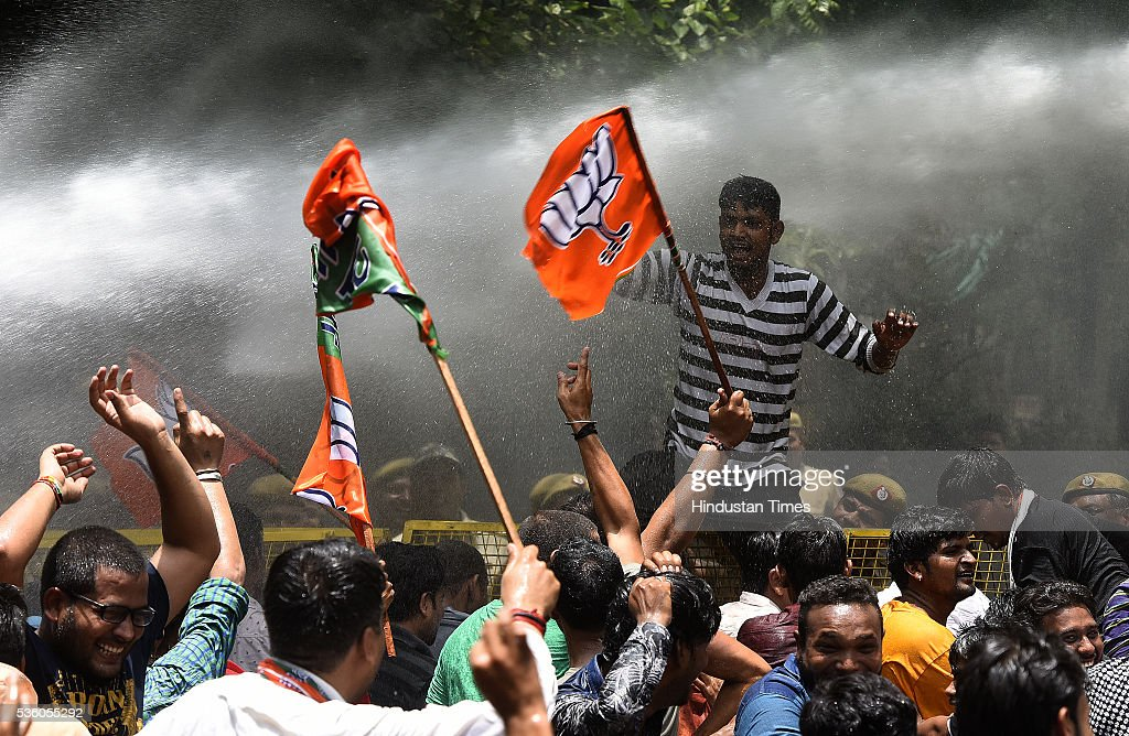 Delhi Police had to use water cannons to dispers Delhi BJP workers during protest outside the residence of Delhi Chief Minister Arvind Kejriwal demanding improvement in power and water supply on May 31, 2016 in New Delhi, India.