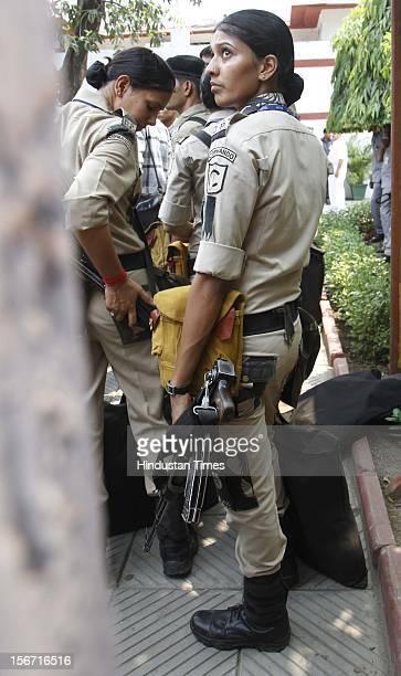 'NEW DELHI INDIA JULY 22 Delhi Police women Commandos depute at the residence of President Elect Pranab Mukherjee on July 22 2012 in New Delhi India '