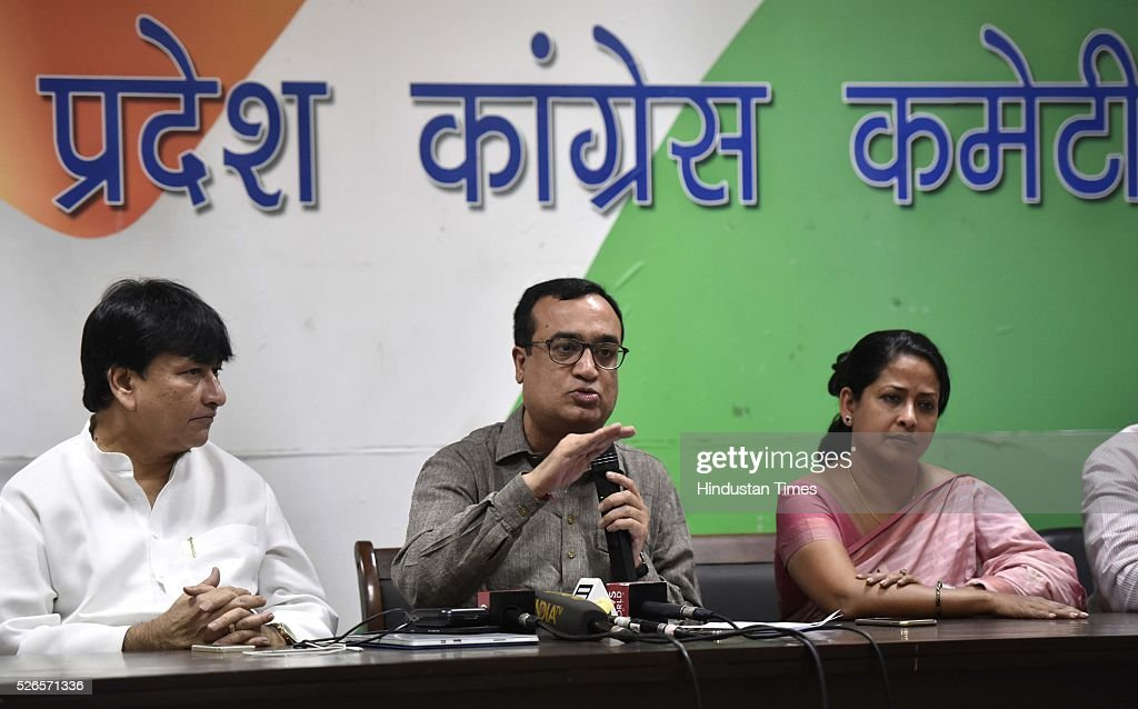 Delhi Pradesh Congress Committee (DPCC) President Ajay Makan with party leaders Sharmishtha Mukherjee and Haroon Yusuf addressing a press conference after Delhi Chief Minister Arvind Kejriwal said that a draft bill for statehood of the national capital is ready, on April 30, 2016 in New Delhi, India.