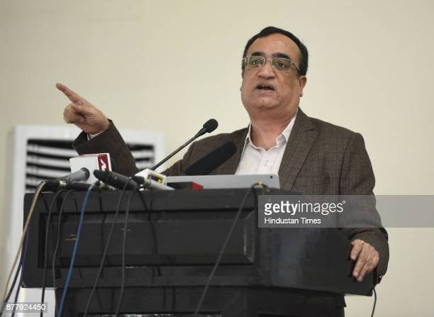 Delhi Pradesh Congress Committee president Ajay Maken addresses a press conference on the issue of Reality of Delhi Government Education An Expose at...