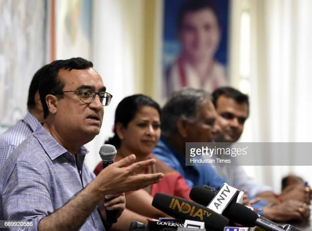 Delhi Pradesh Congress Committee President Ajay Maken with other party leaders addresses a press conference before the manifesto release on Urban...