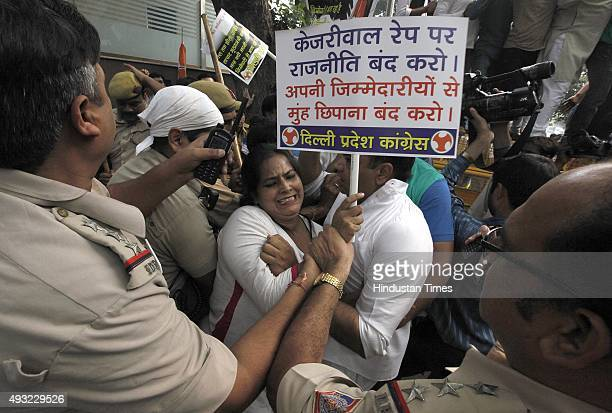 Delhi Pradesh Congress committee workers protest against Delhi Chief Minister Arvind Kejriwal over the recent horrific twin rape cases of minors in...