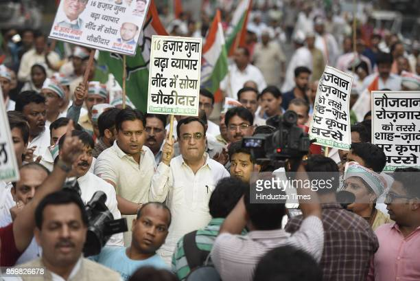 Delhi Pradesh Congress President Ajay Maken during a protest for demanding action against BJP President Amit Shah following disclosure of alleged...