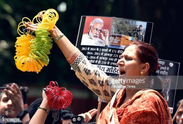 Delhi Pradesh Mahila Congress protests at BJP headquarters against the Modi government's failure to control cross border terrorism and recent naxal...
