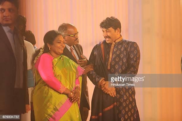 Delhi President Manoj Tiwari at the wedding reception of Union Minister Nitin Gadkari's daughter Ketki and Aditya Kaskhedikar on December 8 2016 in...