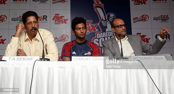 Delhi Ranji Cricket Team player Unmukt Chand with TA Sekar and Hemant Dua during Fasttrax Daredevils School Cup 2012 tournament press conference at...