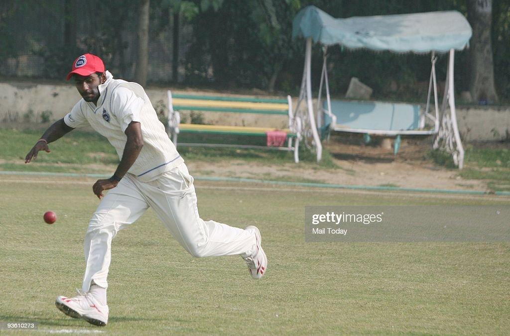 Delhi Ranji team captain Parvinder Awana practices at the Roshan Ara club in New Delhi on Monday, November 30, 2009.