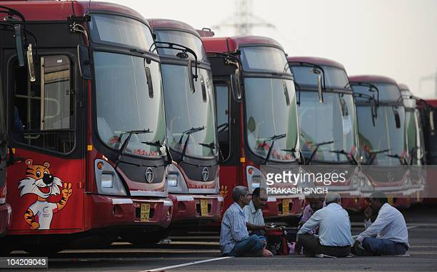 Delhi Transport Corporation buses which will be used during the Commonwealth Games are parked in a depot in New Delhi on September 17 2010 The DTC...