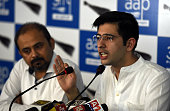 Delhi Unit Convener Dilip Pandey and spokesperson Raghav Chadha address a Press conference on the issue of murder of NDMC law officer MM Khan at AAP...