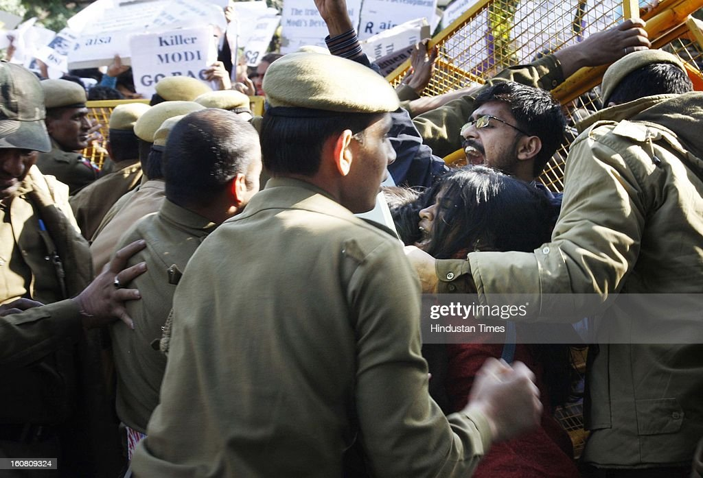 Delhi University Students Staged protest demonstration against Gujrat Chief Minister Narendra Modi outside Shri Ram College of Commerce where he was going to deliver a memorial on February 6, 2013 in New Delhi, India.