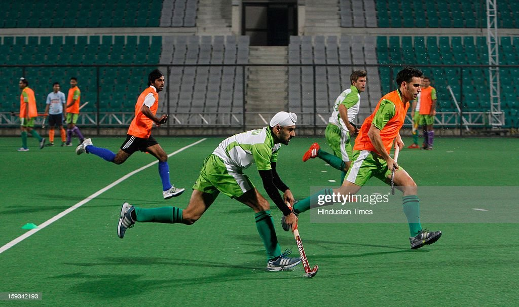 Delhi Wave Riders team during the practice session ahead of Hockey India League at Major Dhyan Chand National Stadium on January 11, 2013 in New Delhi, India.